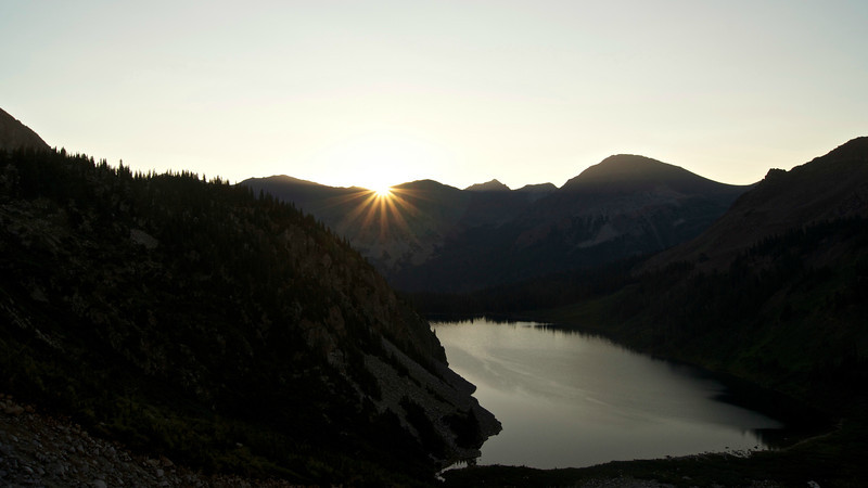 Sunrise over Snowmass Lake from 11,500 ft.
