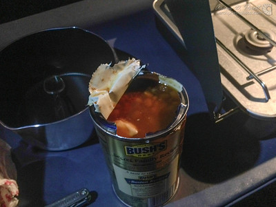No can opener? No problem! Leatherman to the rescue!