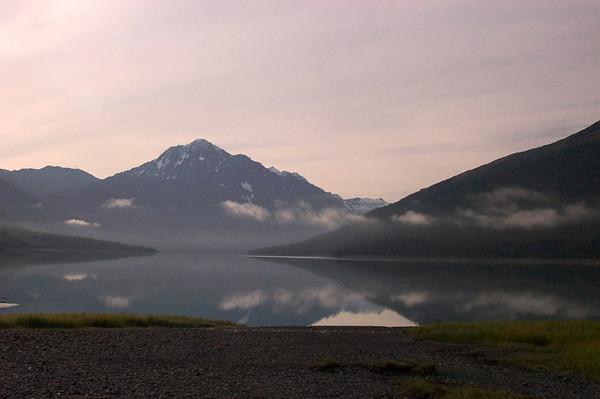 Sunrise at Eklutna Lake just northeast of Anchorage, Alaska. This area is part of the Chugach State Park.