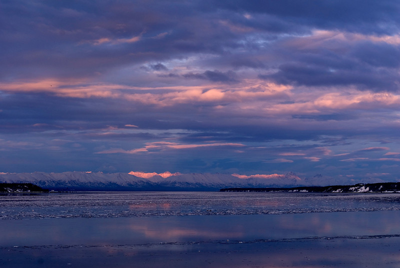 Looking north toward the Talkeetna Mountains from Earthquake Park near Anchorage.  This was taken at sunset during January 2010.