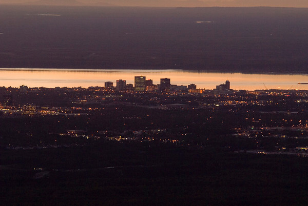 This skyline of Anchorage was photographed at dusk from the overlook at Glen Alps, in the Chugach State Park outside Anchorage, Alaska.