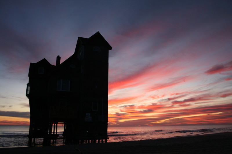 "The ""Serendipity"" house from ""Nights in Rodanthe"" taken at sunrise November 29, 2009 on Mirlo Beach, Rodanthe."