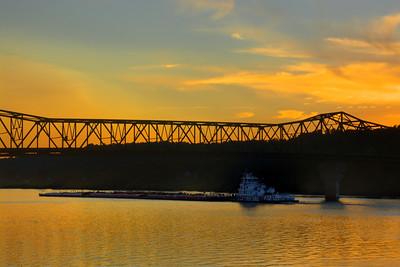 Sunset over Huntington, WV's 6th St  Bridge