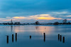 Late evening light over the flooded Somerset levels at Greylake by the A358 in February