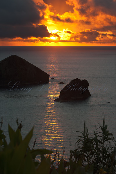 Sunset over Ilheu Mosteiros in the Azores