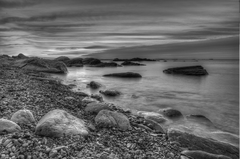 Low tide, Twilight on the shores of the Sakonnet River, Sachuest Point, Rhode Island.
