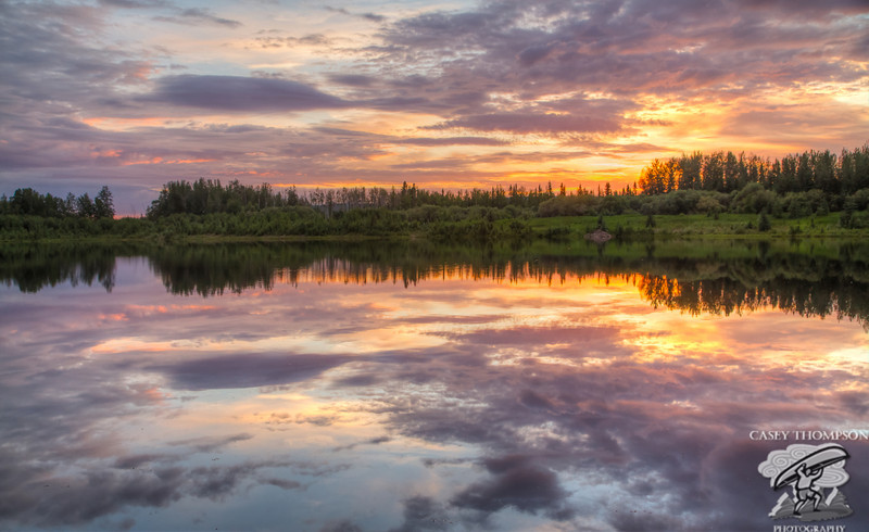 Sunset at Wander Lake in Fairbanks, AK at 12:10 am on June 26, 2012. HDR