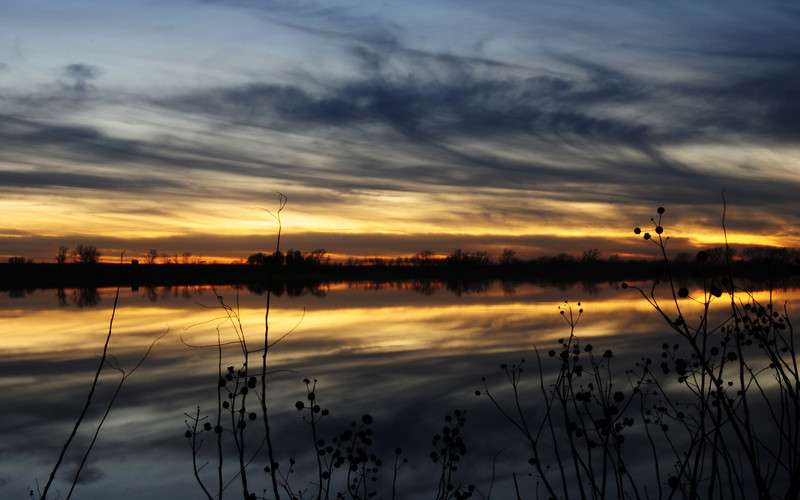 Winter Sunset at Butler County Lake