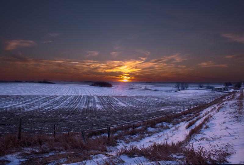 Sunset over field near Lewiston, MN.