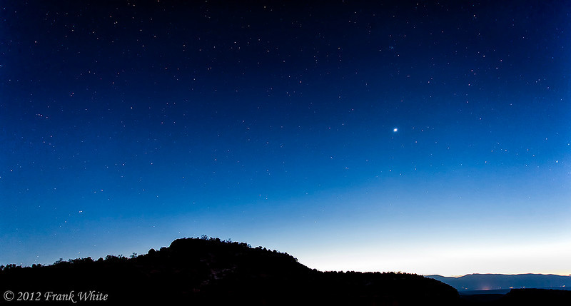 Stars and pre-dawn glow, west of Santa Fe, near Bandoleer National Monument.