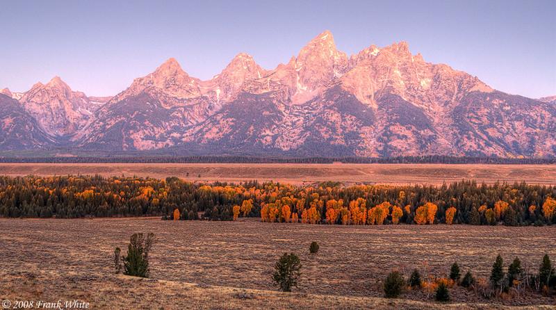 Tetons Sunrise, north of Jackson Hole, Wyoming.
