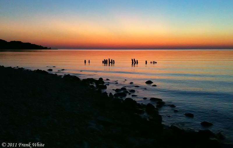 Sunset on Lake Michigan near Cross Village, Michigan. Taken with and iPhone 3S.