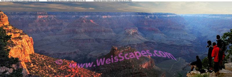 Sunrise at the South Rim of the Grand Canyon.<br /> When purchasing this panorama, you will need to manually trim 0.25 inch from the top, so that it will fit a standard 11.75 x 36 frame.