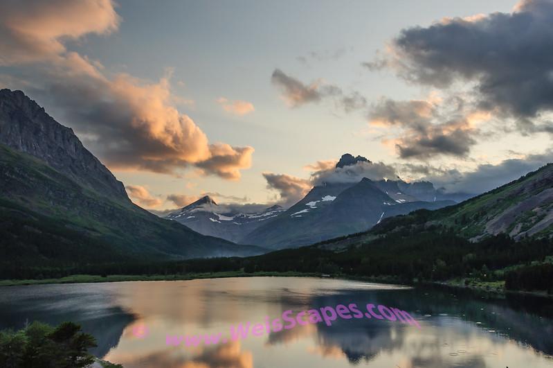 Sunset over Swiftcurrent Lake, Glacier National Park.