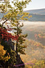 """Sunrise on the Escrapment trail, east of """"Lake of the Clouds"""" Overlook, Porcupine Mountain State Park."""