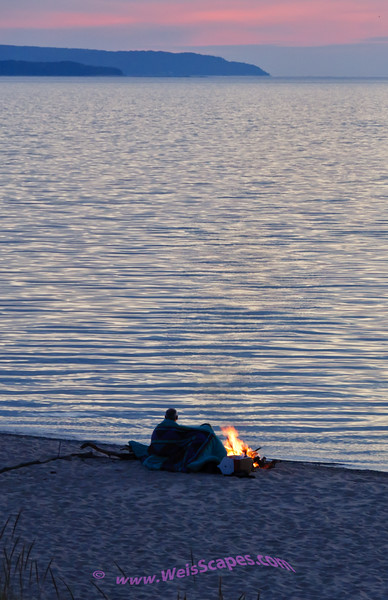 Watching the sun set over Lake Michigan at the Esch Road beach, Sleeping Bear Dunes National Lakeshore.