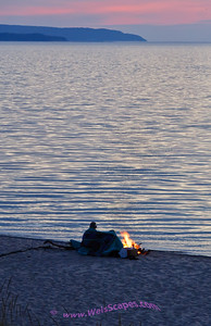 Watching the sun set over Lake Michigan at the Esch Road beach, Sleeping Bear Dunes National Lakeshore.