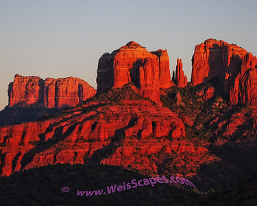 Cathedral Rock at sunset in Sedona Arizona.
