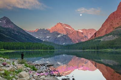 Morning reflections on Swiftcurrent Lake, Glacier National Park.