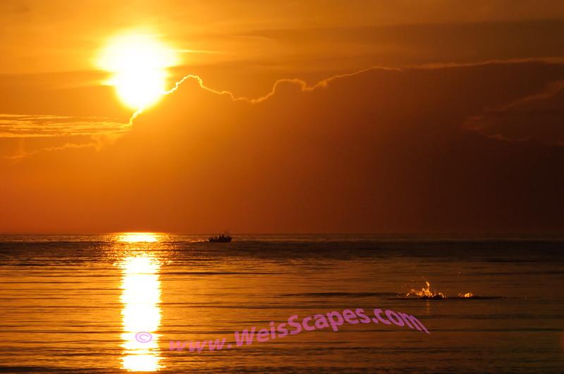 Going fishing at sunset.