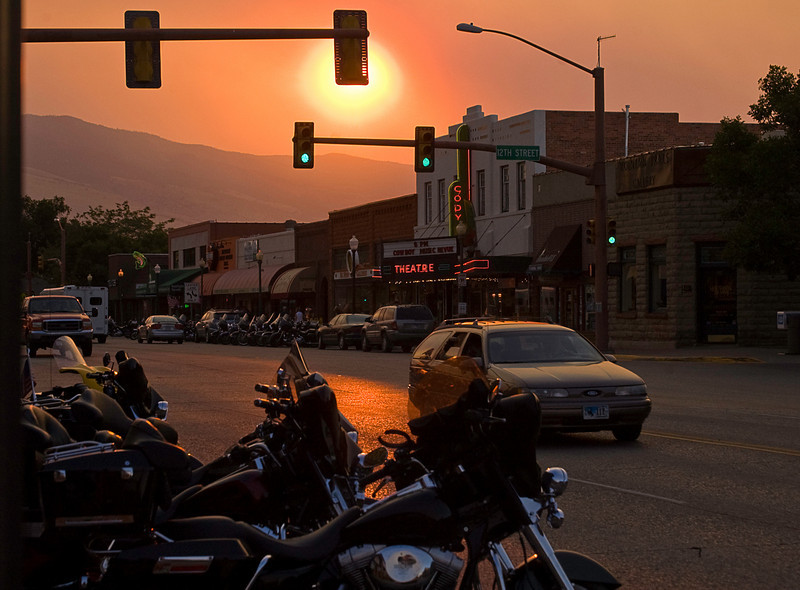 Sundown on Main Street in Cody, WY