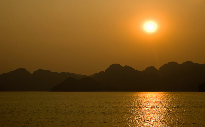 Sunset on Halong Bay, Vietnam (See Travel>Vietnam>Halong Bay.)