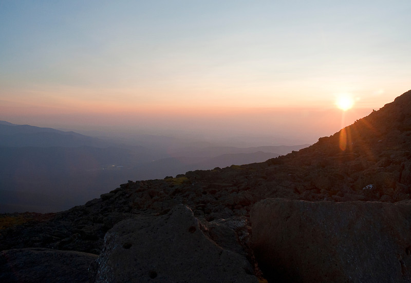 Sunset with lens flare from the top of Mount Washington in New Hampshire; see also Landscapes>Panoramas & HDRs, photo 12