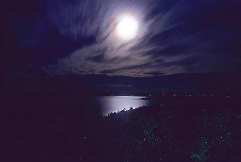 Full moon over Lake Champlain from the New York side, early 70s Kodachrome scan
