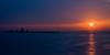 Sunrise behind the Oryuk Islets in Busan Harbor, Korea
