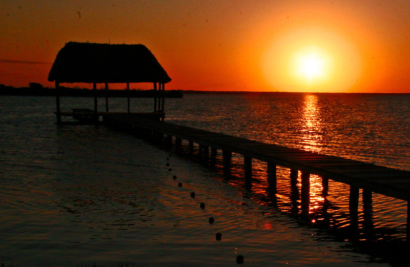 This is the boat pier for the Rio Lagartos tours from El Cuyo, Yucatan, Mexico