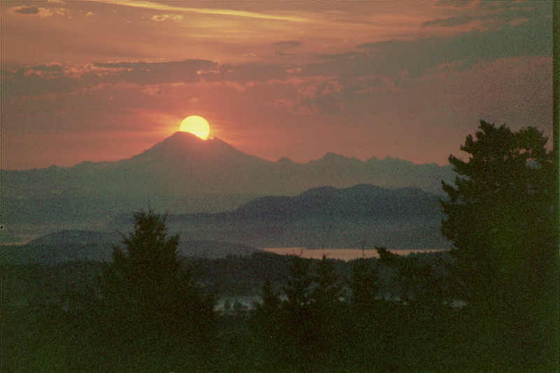 Mt Baker; Washington. Sunrise from San Juan Island on a certain day.