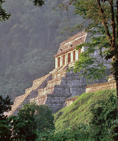 Temple of the Sun at sunrise in Palenque, Chiapas mexico