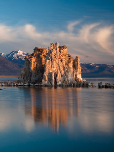 the clouds really make this one for me, a single tufa formation on Mono Lake just after the sun crested.