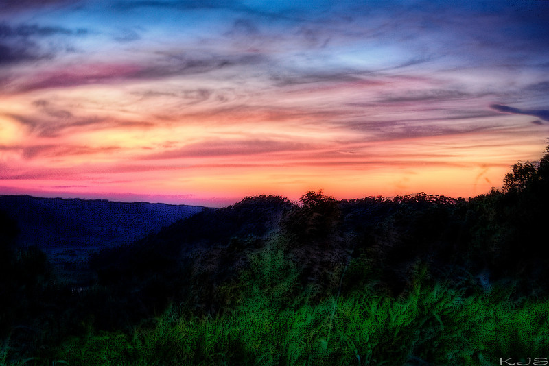 sunset in the hills
