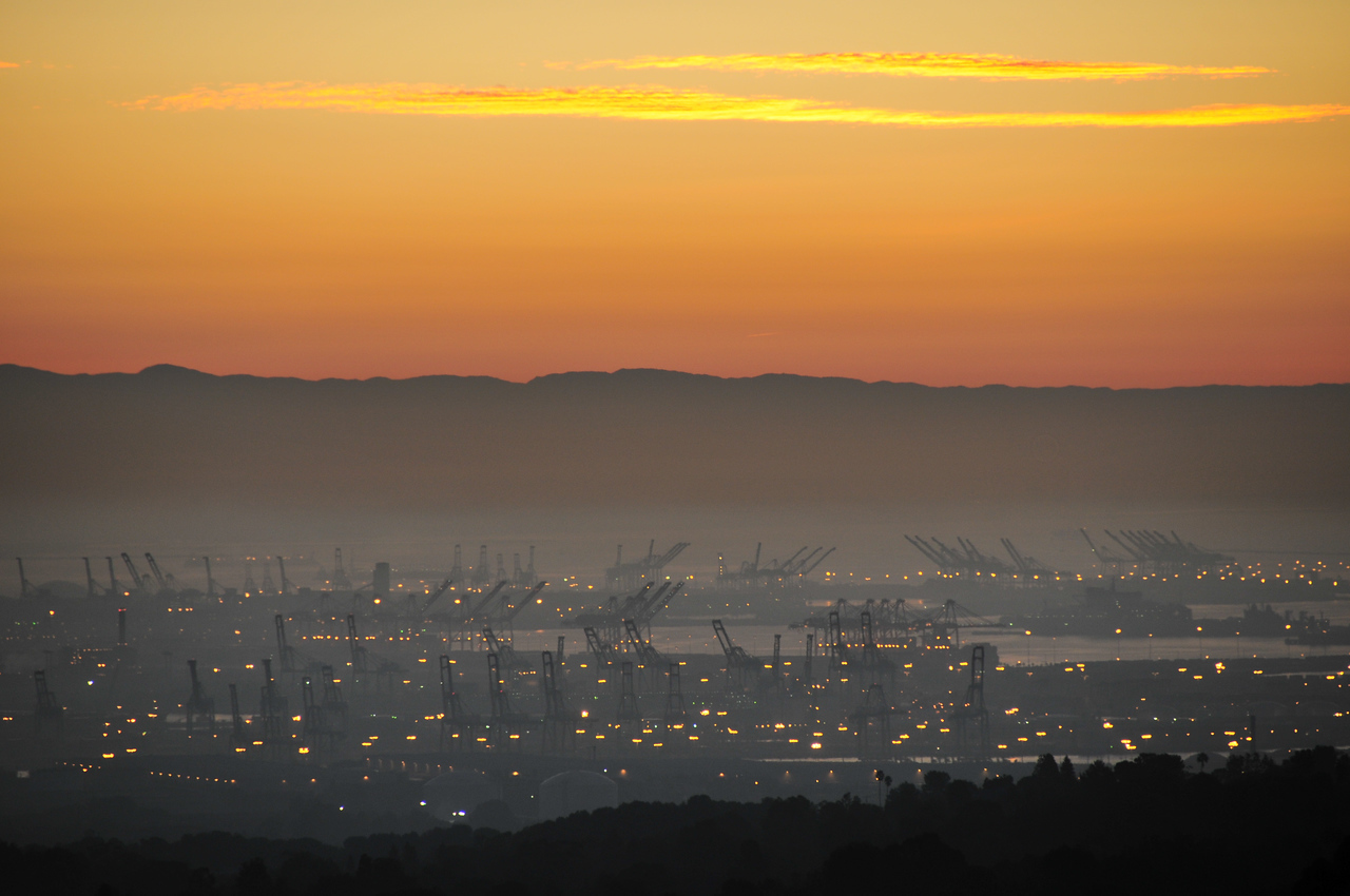 Sunrise view from Palos Verdes looking towards the Port of Los Angeles