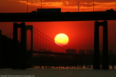 Sunset on the Throgs Neck and Whitestone Bridges, Queens NY 2006