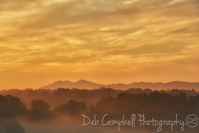 Three Sisters foggy sunrise