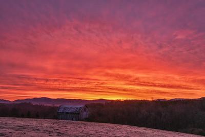 Ridge Road Barn sunrise