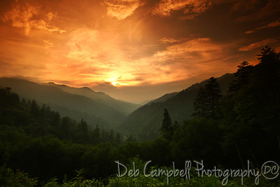 """A Smoky Mountain Sunset Morton's Overlook Great Smoky Mountains National Park  2012 Cover of """"The Prophet"""" a fictional Novel by Michael Letterman 2013 Great Smoky Mountains National Park Calendar-July"""