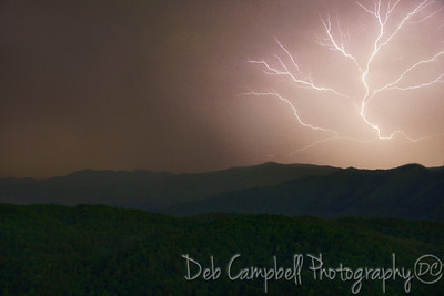 Lightning Cracks across the Smokies Foothills Parkway West Blount County, Tennessee