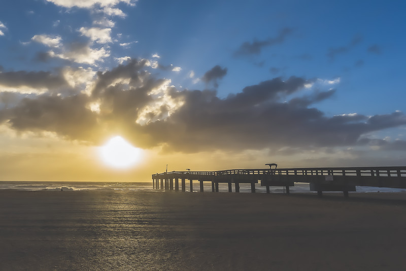 St. Johns County Pier at sunrise on Anastasia Island