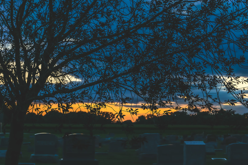Sunset at Westlawn Cemetery