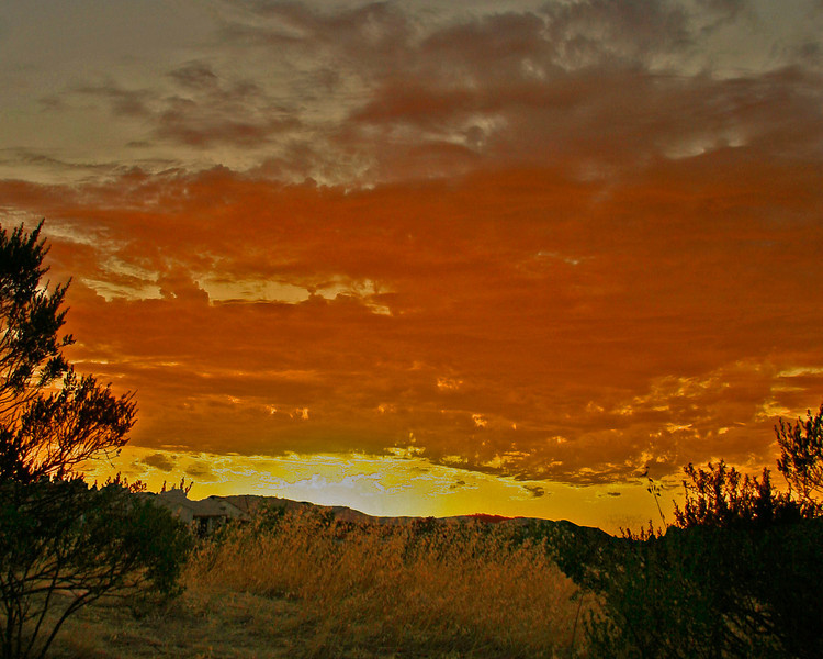 We spent the month of August in Paso Robles and it was hot and dry, There was only one day with clouds and a sunset.  This was it.