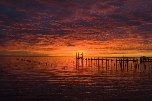 Sunrise from Kemah, TX boardwalk