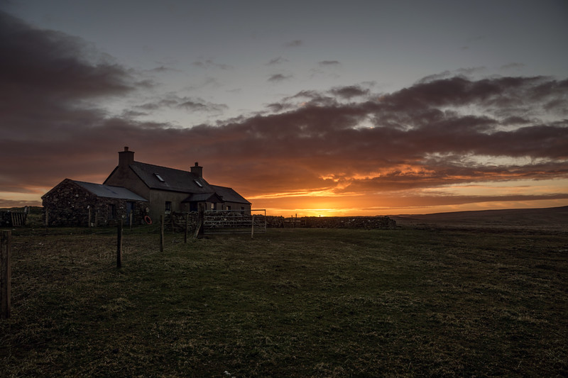 Hannigarth, Unst, in sunset