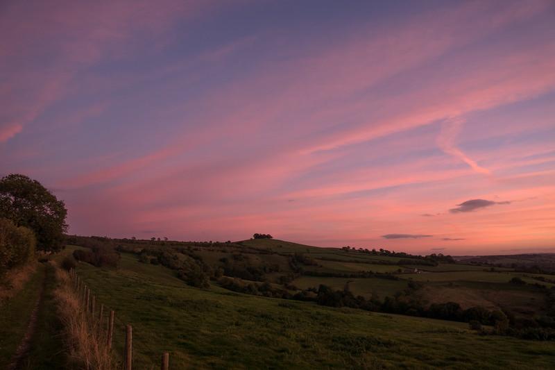 Kelston Roundhill sunset colours 18/10/16