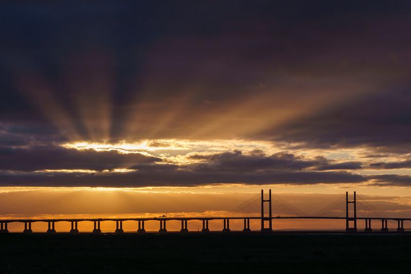 Severn Bridge sun rays