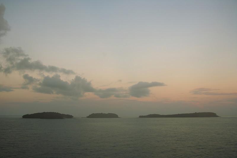 Misty dawn, islands off French Guiana.