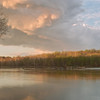 Sunset above the Great Falls of the Potomac River in River Bend park. Looking toward the Maryland shore.