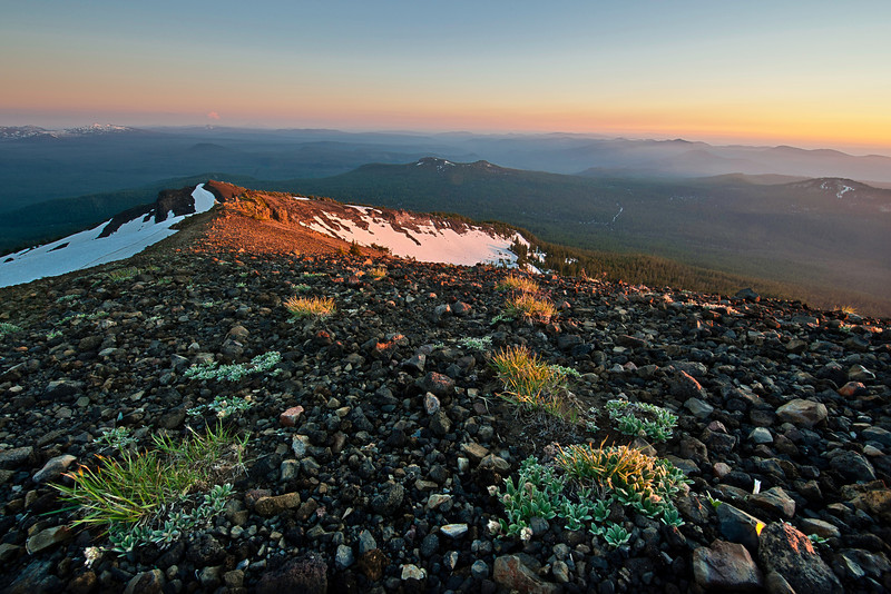 From the summit of Mount Bailey, which offers an unobstructed panoramic view of the Cascade Range, Douglas County, Oregon.